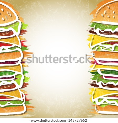 Two hamburgers forming background - vector illustration - stock vector