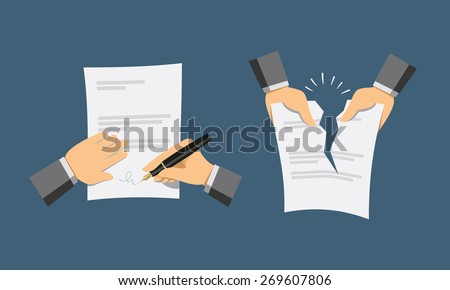 Two hand icons. Signing contract and contract termination. Simple vector illustration. - stock vector
