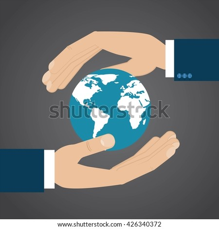 Two hands are protecting Earth. Vector illustration. The continents shapes are altered ones from visibleearth.nasa.gov - stock vector