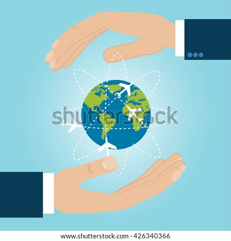 Two hands are protecting Earth with aircraft flying around.The continents shapes are altered ones from visibleearth.nasa.gov - stock vector