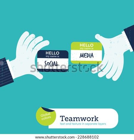 Two hands exchanging visit cards with my name card is social media. Vector illustration Eps10 file. Global colors. Text and Texture in separate layers. - stock vector