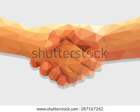 two hands handshake polygonal low poly contract agreement full color. - stock vector
