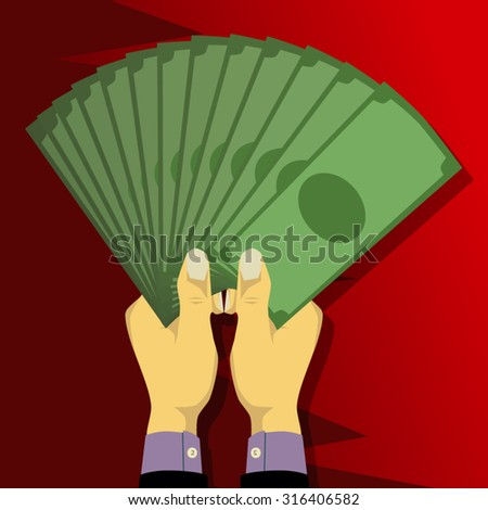 Two hands holding a lot of money in the form of a fan - stock vector