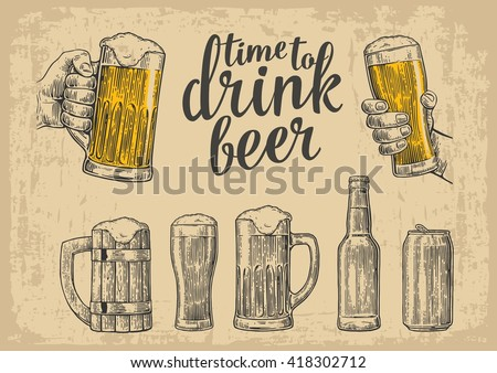 Two hands holding beer glasses mug. Glass, can, bottle. Vintage vector engraving illustration for web, poster, invitation to party. Isolated on beige background - stock vector