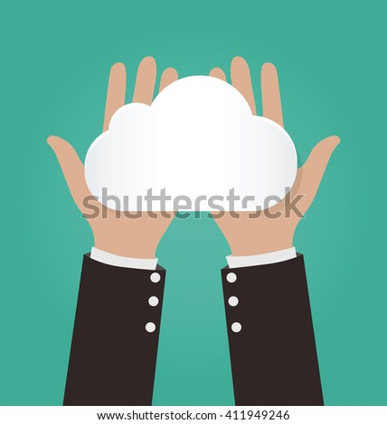 Two hands holding paper clouds, Cloud computing concept - stock vector
