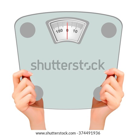 Two hands, holding up a scale. Concept of diet. Vector.