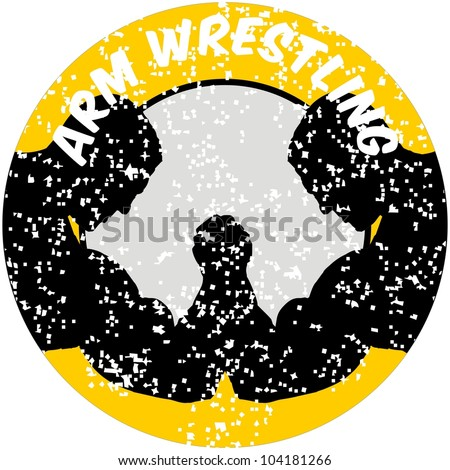 Two hands icon in arm wrestling - stock vector