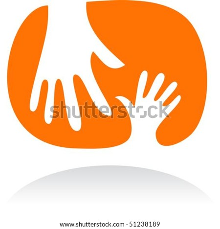 Two hands - mother and child - stock vector