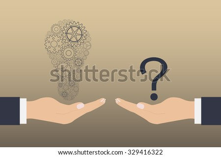 Two hands, one with the idea to another with a question mark - stock vector