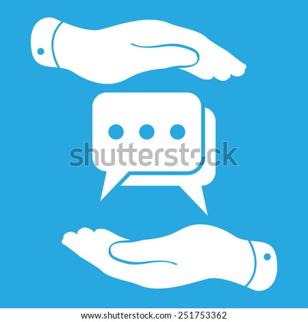 two hands protecting flat chat icon- vector illustration - stock vector