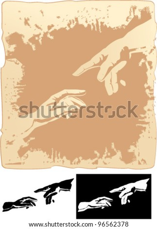 two hands stylized for michelangelo's creation mural - stock vector