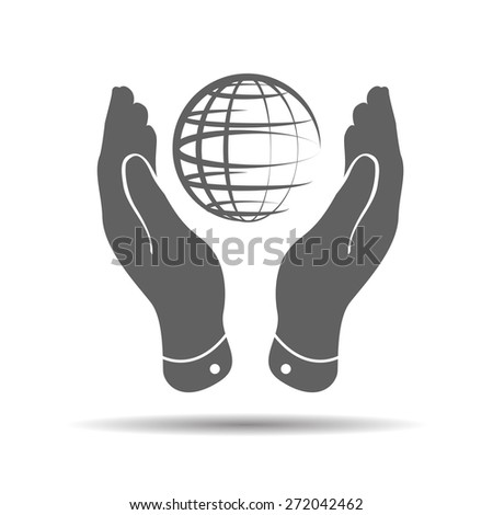 two hands take care of globe planet icon on a white background - stock vector