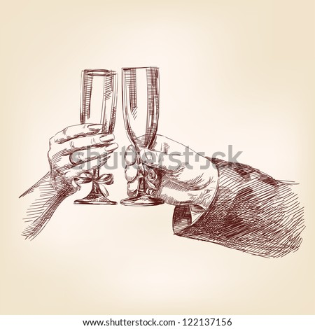 Two hands with champagne glasses vector llustration - stock vector