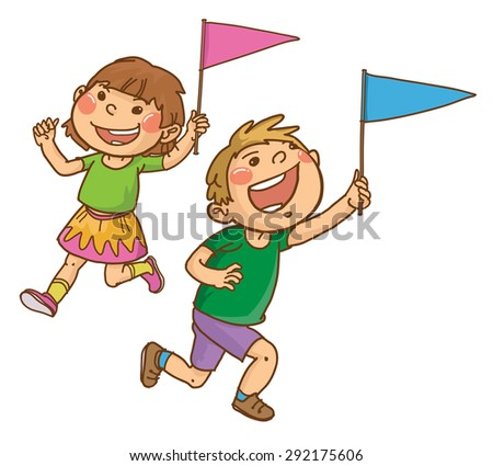TWO happy children with little flags running around. Back to School isolated objects on white background. Great illustration for a school books and more. VECTOR. Editorial. Education. - stock vector