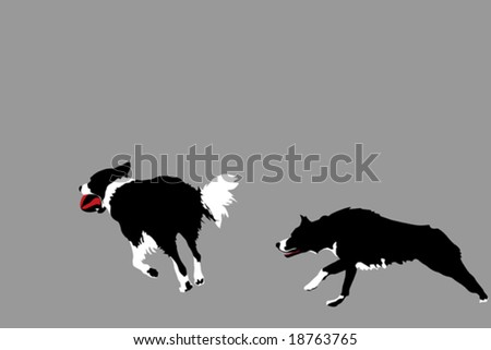 two happy dogs playing with ball - stock vector