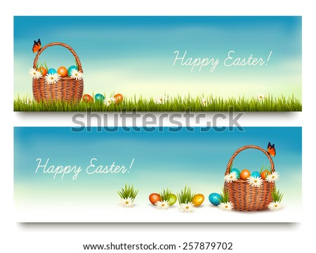 Two Happy Easter banners with easter eggs in a basket. Vector. - stock vector