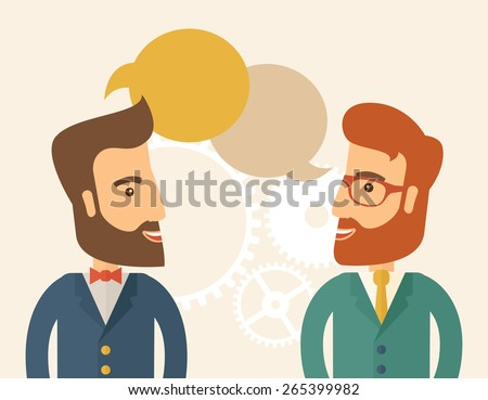 Two happy hipster Caucasian men with beard facing each other wearing jacket sharing and gathering ideas with bubble text on the top of their heads. Team building concept. A contemporary style - stock vector