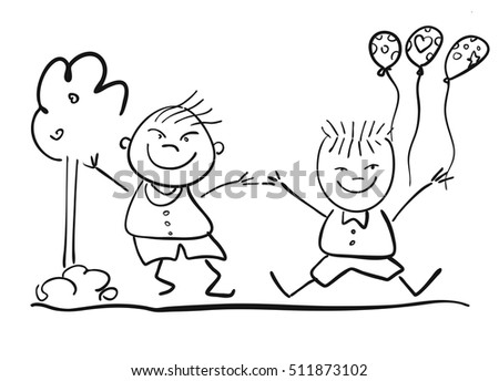 Two Happy Kids with Ballon, Friendship Symbol Sketch, Hand-drawn Vector Illustration
