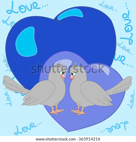 Two happy pigeons boys with the blue hearts,  can be used for wallpaper, pattern fills, web page background,surface textures, textiles, cards, postcards.