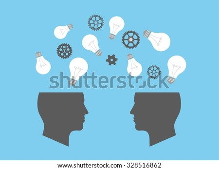 Two Heads Better. Illustration of two different thought processes combining as one. Start up concept. mechanisms, communication, gear, lamp like inspire - stock vector