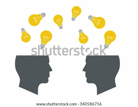 Two Heads Better. Illustration of two different thought processes combining as one. Start up concept. Search idea. mechanisms, communication, lamp like inspire - stock vector