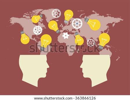 Two Heads Better. Illustration of two different thought processes combining as one. Start up concept. Search idea. mechanisms, communication, lamp like inspire. On the  World map. - stock vector