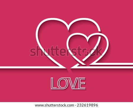 Two heart for greeting card design. Vector illustration - stock vector