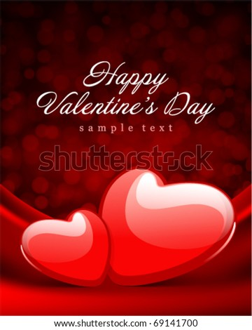 Two heart red shiny on silk with light Valentine's day vector background