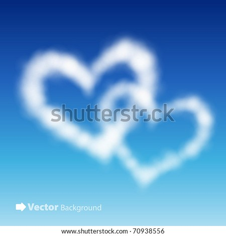 Two heart shaped clouds in the blue sky. Valentine`s day illustration - stock vector