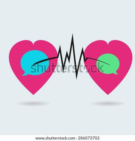 two hearts are connected to each other communication. Stock vect - stock vector