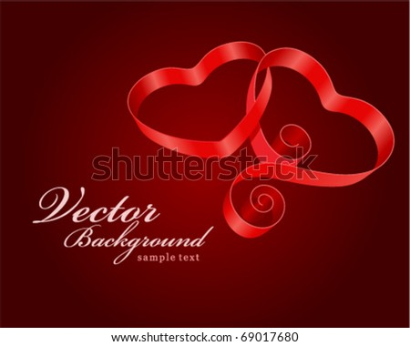 Two hearts from ribbon Valentine's day vector background