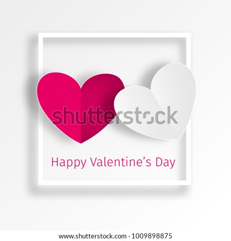 Two Hearts Loving Couple White Red Stock Vector 1009898875 ...