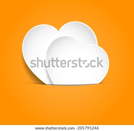 Two hearts on orange background - stock vector
