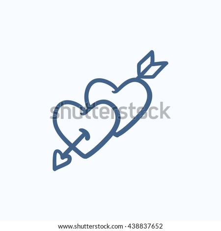 Two hearts pierced with arrow vector sketch icon isolated on background. Hand drawn Two hearts pierced with arrow icon. Two hearts pierced with arrow sketch icon for infographic, website or app. - stock vector