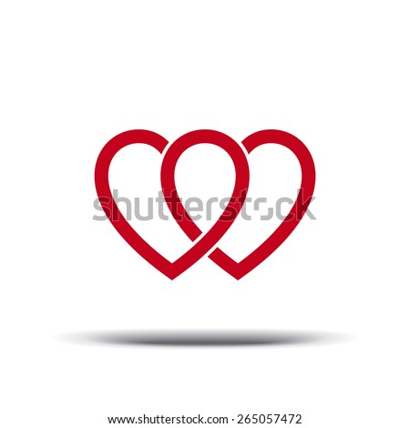 Two hearts. Rainbow. Gays, lesbians, bisexuals. Love. Same-sex love. Heart. - stock vector