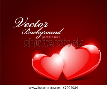 Two hearts Valentine's day vector background