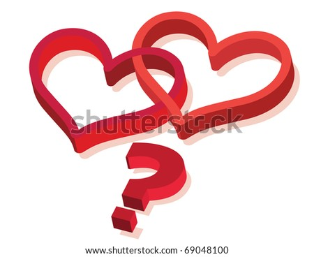 two hearts with question mark sign as real love metaphor - vector illustration - stock vector
