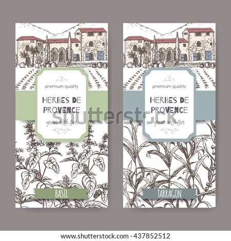 Two Herbes de Provence labels with Provence mansion landscape, basil and tarragon sketch on white. Culinary herbs collection. Great for cooking, medical, gardening design. - stock vector