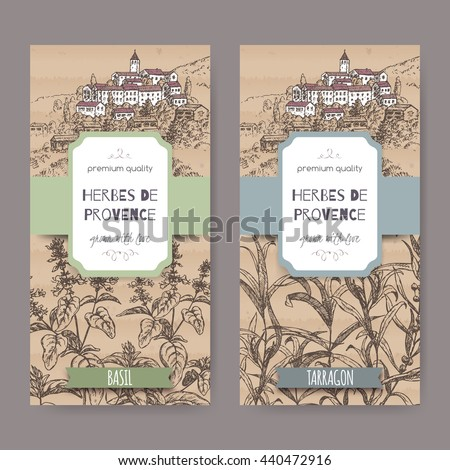 Two Herbes de Provence labels with Provence town landscape, basil and tarragon sketch on cardboard background. Culinary herbs collection. Great for cooking, medical, gardening design. - stock vector