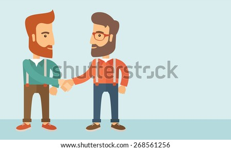 Two hipster Caucasian men standing facing each other handshaking for the successful business deal. Business partnership concept. A contemporary style with pastel palette, soft blue tinted background - stock vector