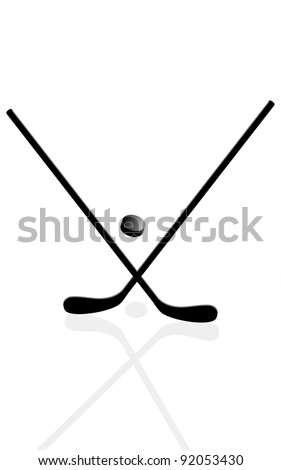 Two hockey sticks and puck in the vector - stock vector