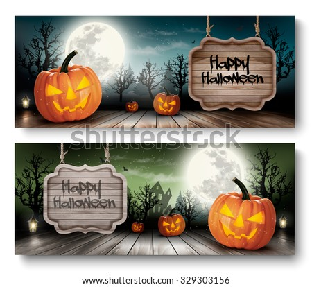 Two Holiday Halloween Banners with Wooden Sign. Vector - stock vector