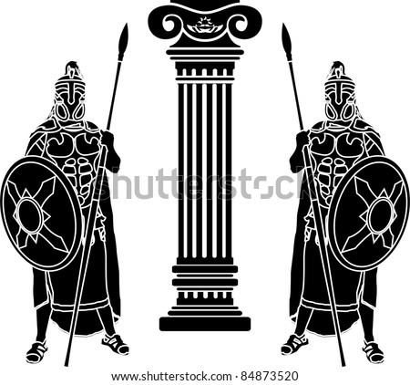 two hoplits and column. stencil. vector illustration - stock vector