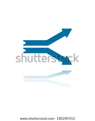 Two Horizontal Parallel Arrows Separating Ways Illustration - stock vector