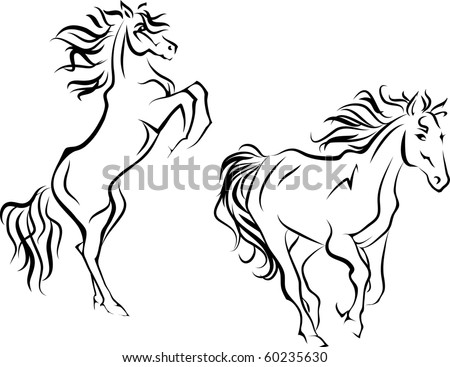 Two horses, simplified silhouettes