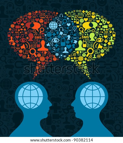 Two human figures face to face in conceptual social media communication on icon set blue background. Vector file available. - stock vector