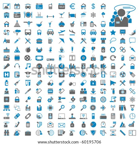 Two hundred different highly detailed vector Icons for Web Applications