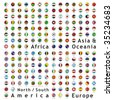 two hundred of fully editable vector world flags web buttons with official colors and details ready to use - stock photo