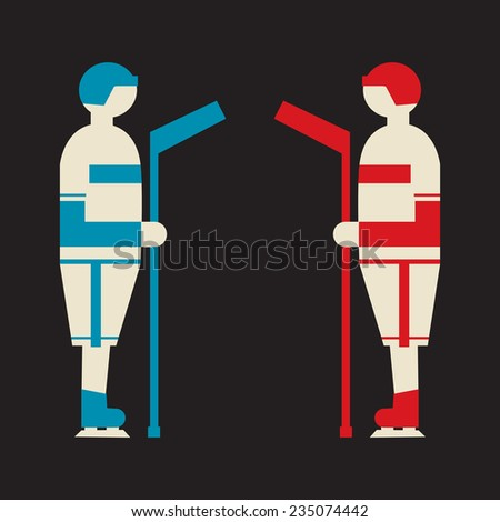 two ice hockey players from competing teams standing face to face - stock vector