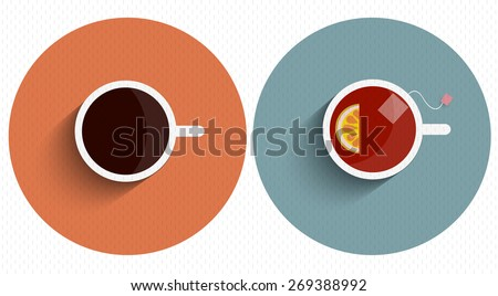 Two icons stylized cup tea and coffee with long shadow. Vector set - stock vector
